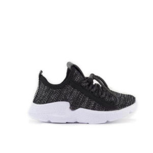 AD Black Lace Up Running Shoes For Kids