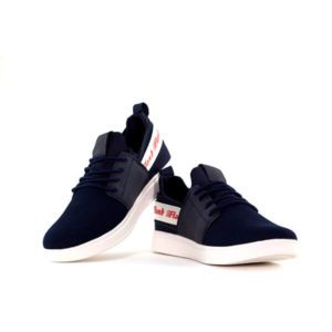 Black and Blue Lace Up Sneakers For Men 2